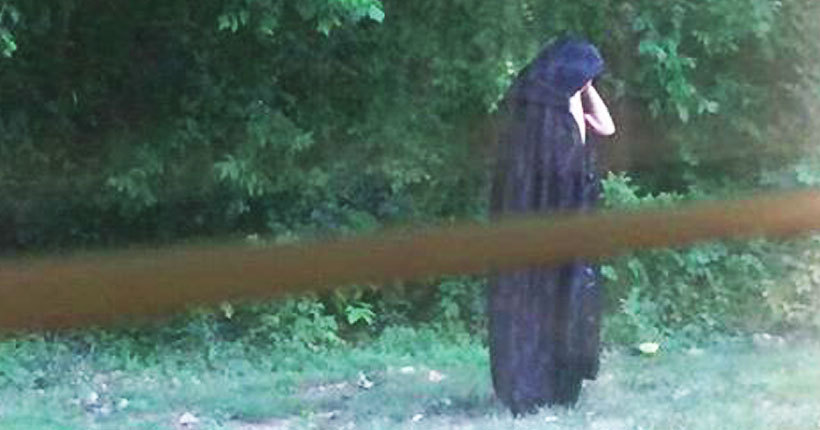 Viral: Pics of cloaked figure leaving raw meat at playground