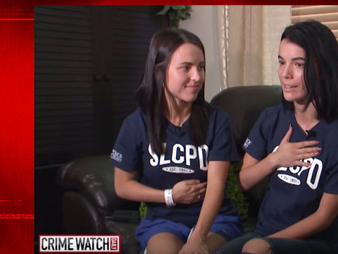 Sisters fight armed ex-con intruder, hero cop saves them
