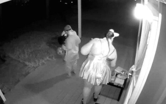 Woman caught on video snatching candy left for kids