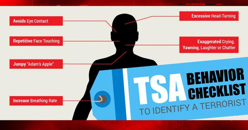 TSA: Behavior Checklist to Spot Potential Terrorists