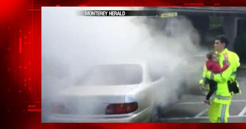 CHP officer saves women, children from burning car in Monterey
