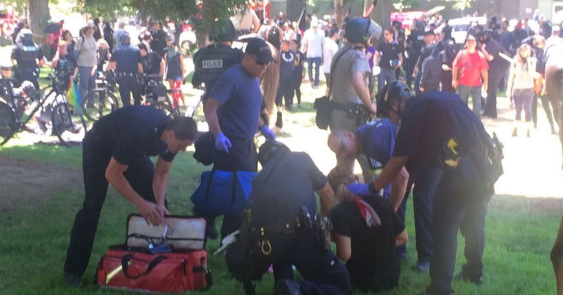 Violence erupts as protests clash at Capitol; 10 stabbed