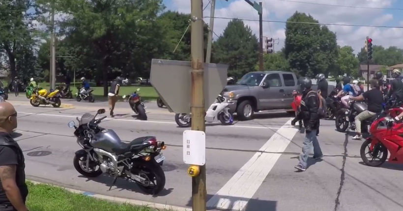 Caught on camera, pickup driver mows down bikers