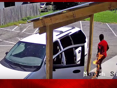 Video: Arsonist accidentally sets himself on fire