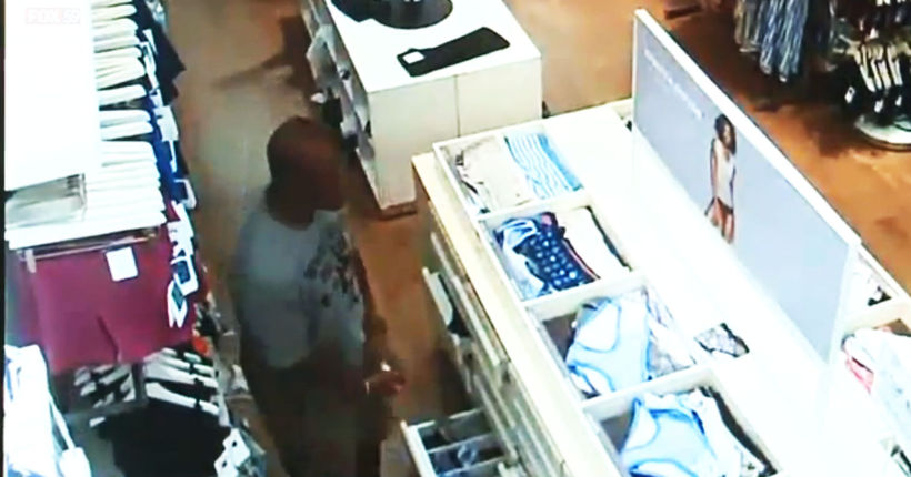 Security video shows thief stealing 200 pairs of panties from Gap