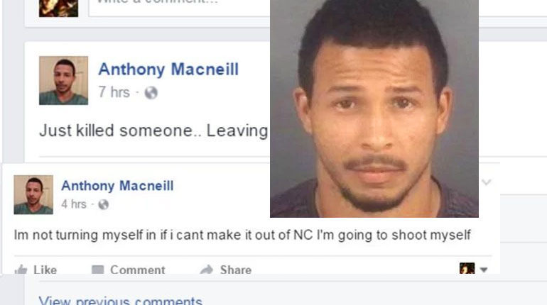 N.C. murder suspect who admitted crime on Facebook found dead