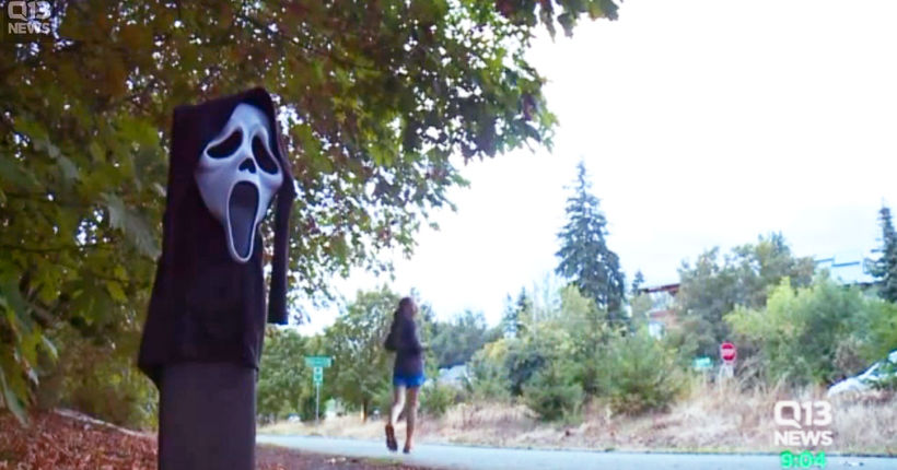 Real-life 'Scream' scene terrifies woman on popular jogging trail