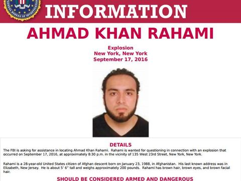 Man wanted in connection to NYC bombing 'armed & dangerous': FBI