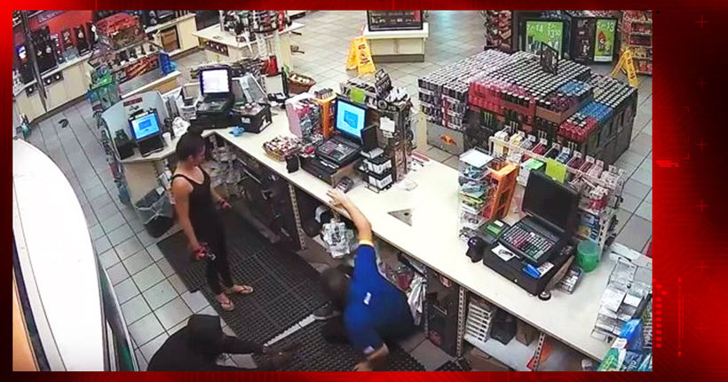 Man, woman sought in Compton gas station armed robbery caught on surveillance video