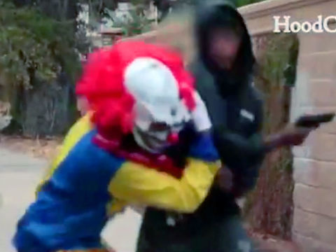 WATCH: Creepy clown pistol-whipped during failed prank