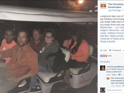 Matthew McConaughey gives UT students safe ride home