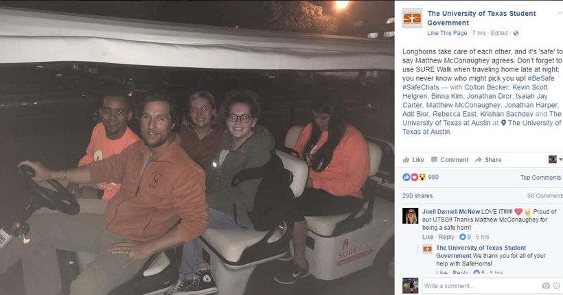 Matthew McConaughey gives UT students safe ride home with SURE Walk