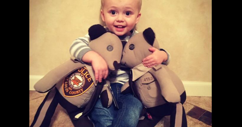 Teddy bears made from uniforms of slain St. Louis County officer