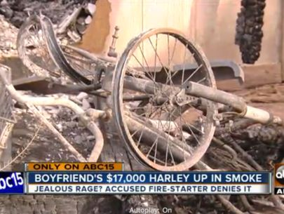 PD: Woman sends picture as she sets fire to boyfriend's Harley Davidson