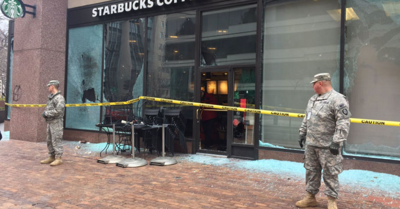 D.C. protest leads to injured officers, smashed windows, fire