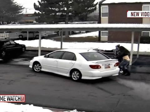 Carjacking caught on camera: tots inside stolen vehicle