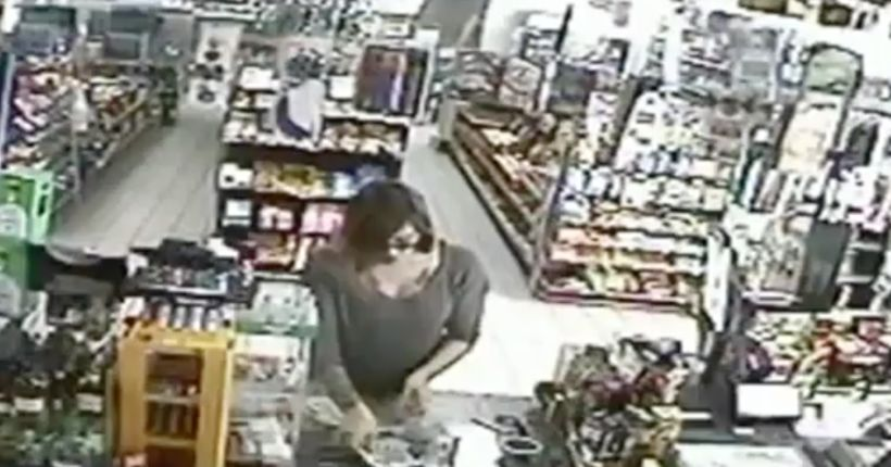 Pregnant woman runs after robber in convenience store; incident caught on camera