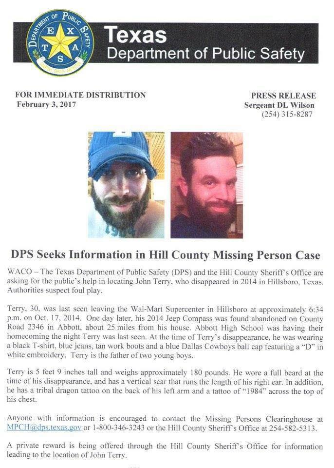 John Terry missing person poster Texas Dpt Public Safety PR