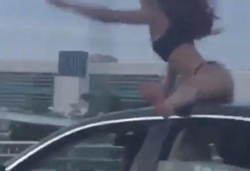 Woman caught twerking on car... speeding down highway