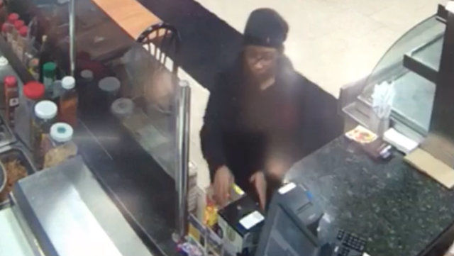Woman caught on camera stealing donation box from restaurant