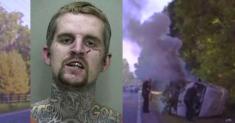 Florida deputies save fleeing felon from burning van