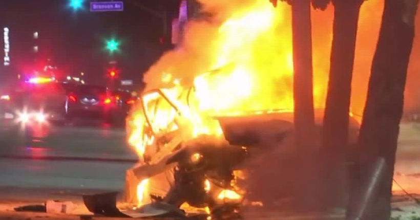 2 killed in fiery crash after police pursuit in Hollywood