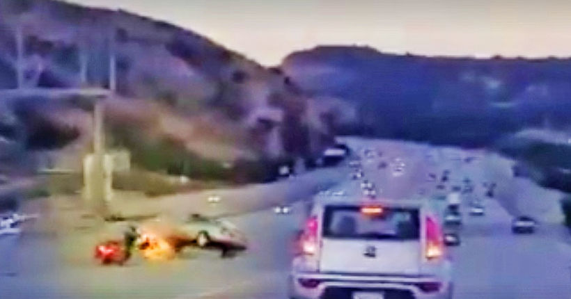WATCH: Road-rage triggers chain-reaction crash on L.A. freeway
