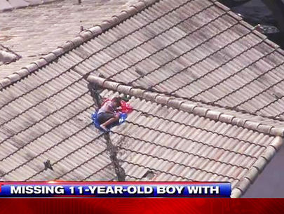 Missing boy skipping camp found on roof by TV helicopter