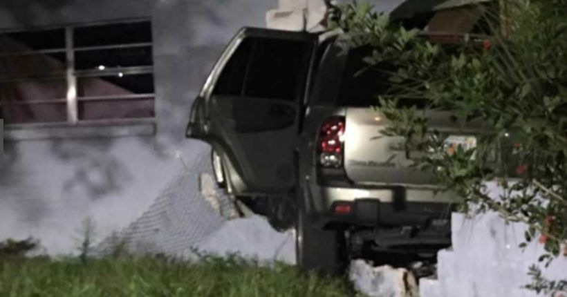 Texting teen plows SUV through wall of Florida home