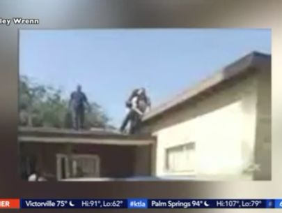 Man jumping rooftops is thrown off one by 83-year-old resident