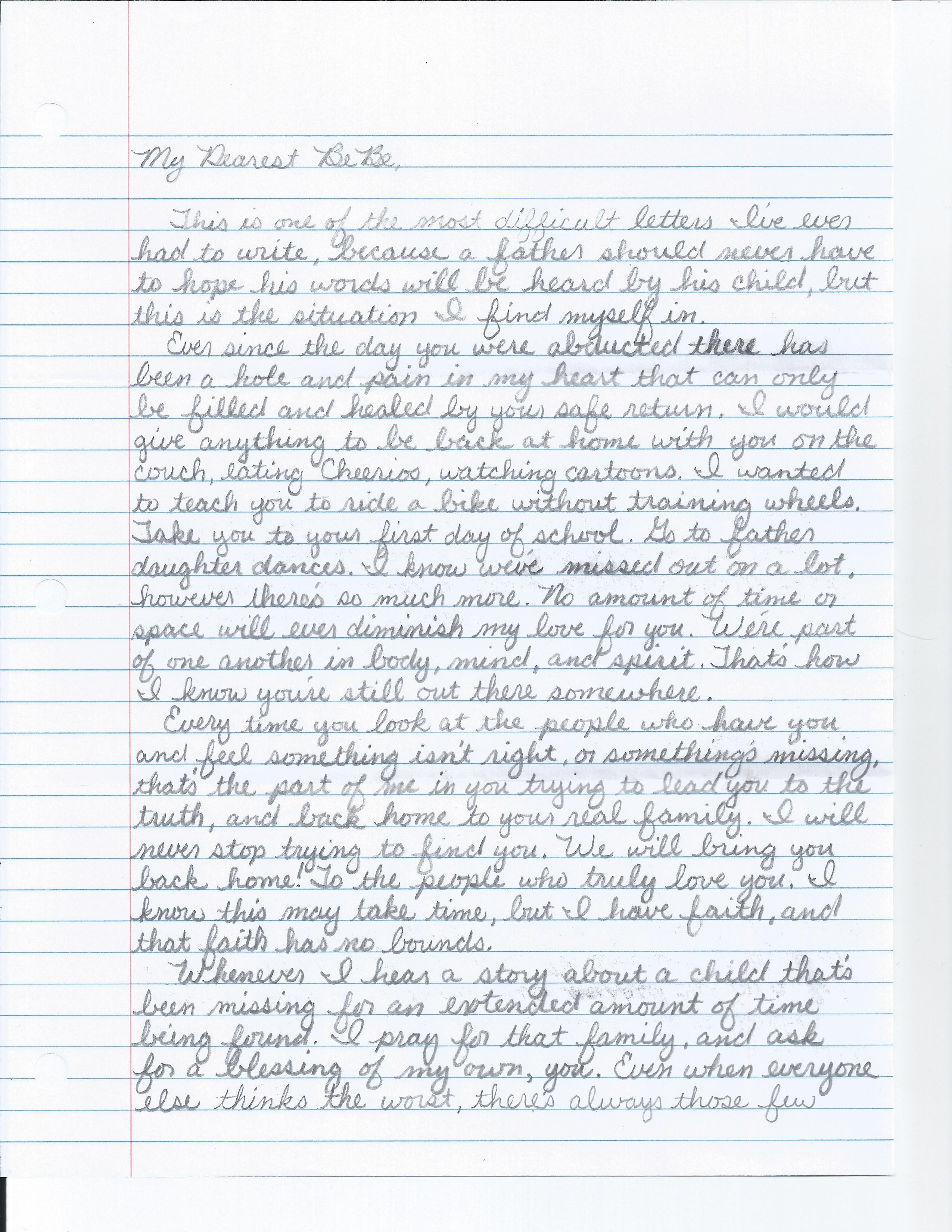 Letter to Bebe Pg.1