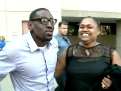 Man freed hugs woman who testified against him in murder trial