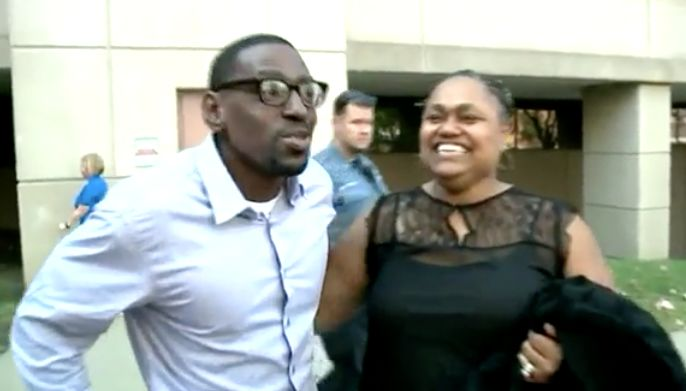 Man freed hugs woman who testified against him in murder trial