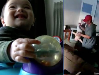 Nanny cam catches man dangling baby upside down