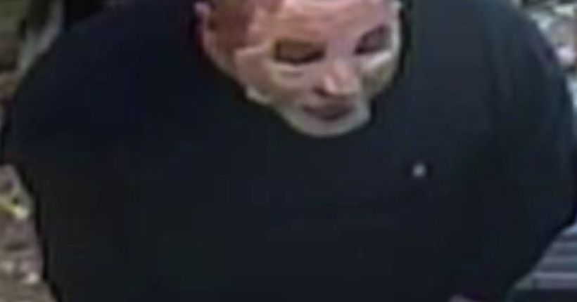 Man wearing facial-type mask sought in series of armed robberies