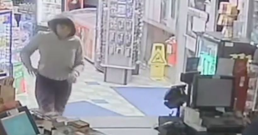 Caught on camera: Clumsy crook stealing from gas station