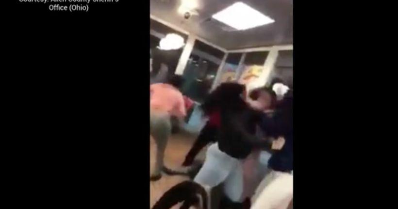 Massive brawl inside Ohio Waffle House