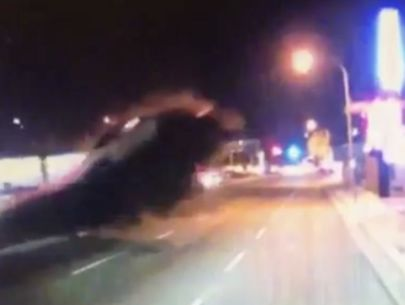 New dashcam video shows sedan launch into 2nd floor of building