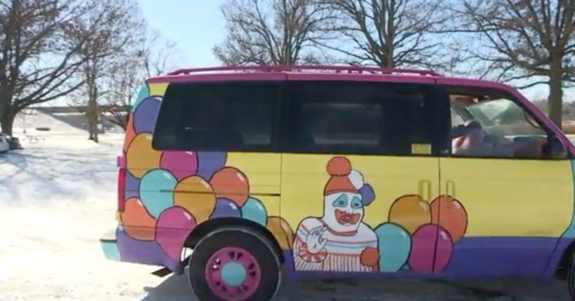 Man's creepy clown van with serial killer ties has true crime fans cracking up