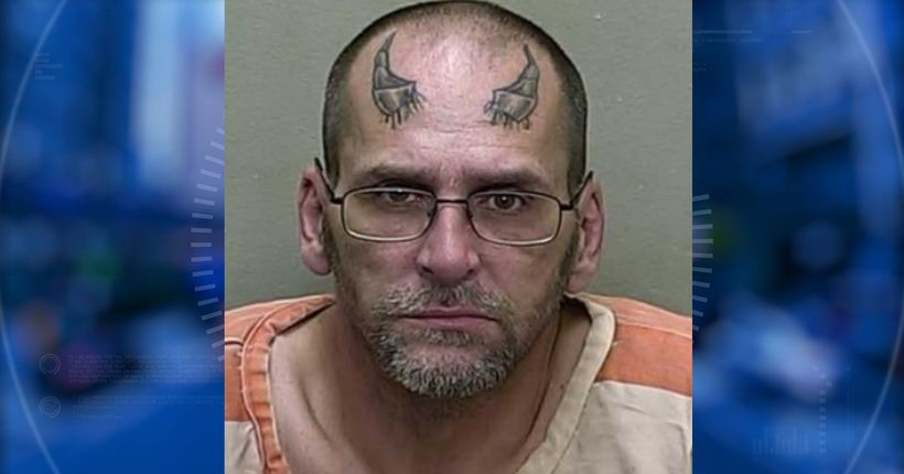 Man with devil horns tattooed on forehead arrested