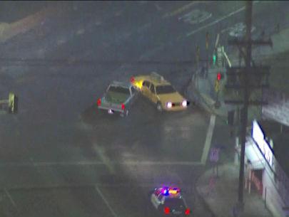 Cops pursue allegedly stolen pickup truck; driver slams into cab