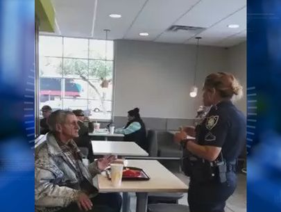 Officer asks homeless man to leave McDonald's after stranger buys meal