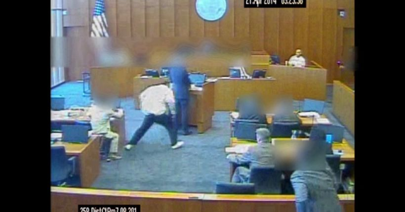 VIDEO: Defendant shot as he attacks witness in courthouse