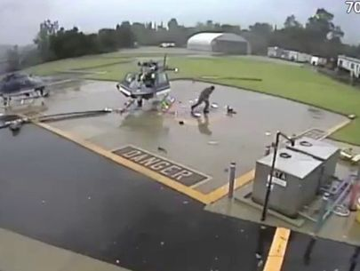 VIDEO: Officer knocked to ground as 2 helicopters collide