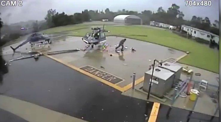 VIDEO: Officer knocked to ground as 2 Pasadena Police helicopters collide