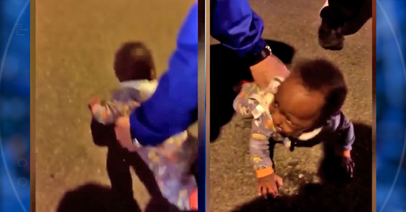 Mom arrested after heartbreaking video shows baby lying in middle of road