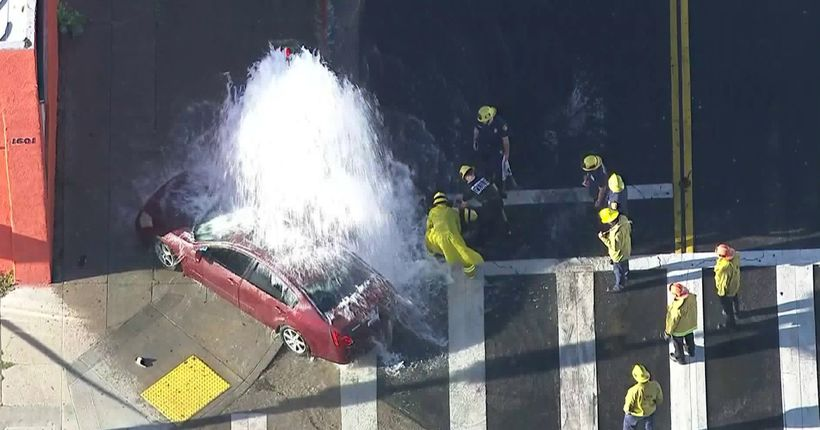 Pursuit suspect dragged woman with car before crashing into hydrant in South L.A.: Police