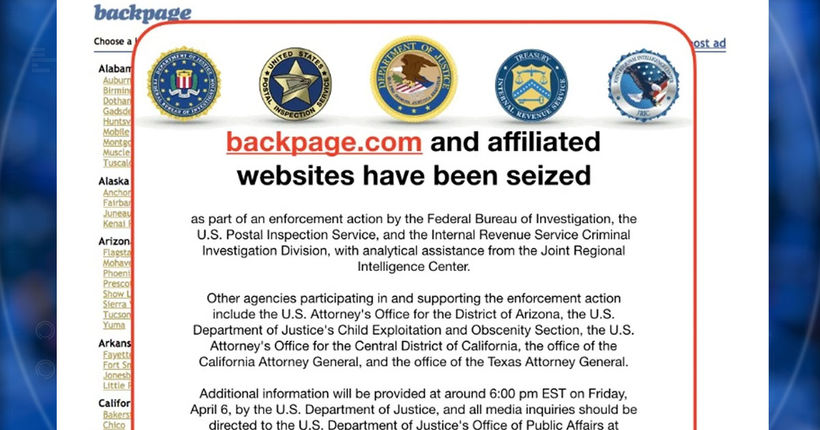 Dept. of Justice seizes classified ads website Backpage.com