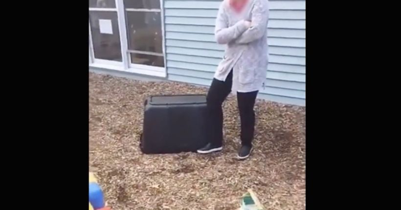 Video shows daycare workers laughing as toddler is pinned under container