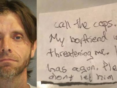 Woman slips note to veterinary staff pleading for rescue from boyfriend